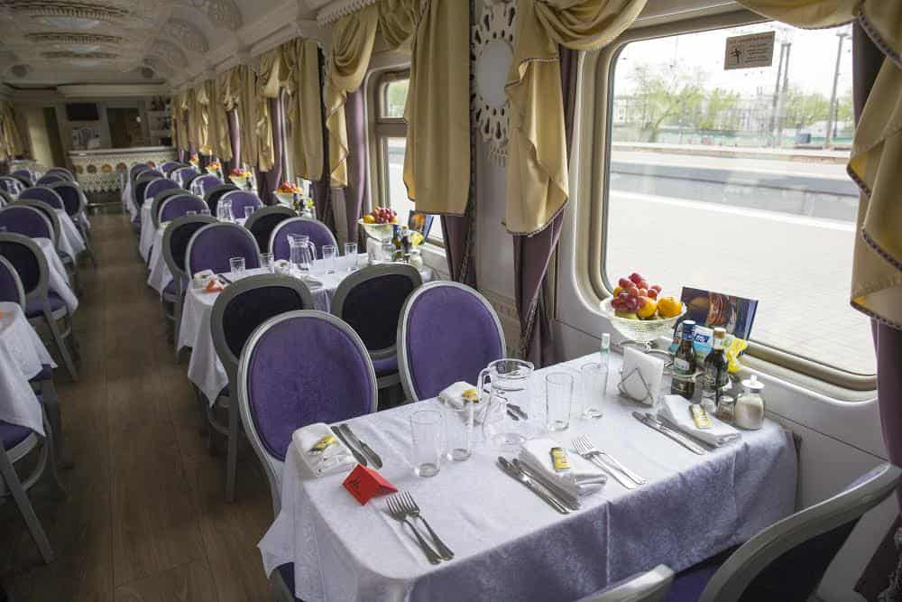 The csar-style dinner set up that is held onboard the train.