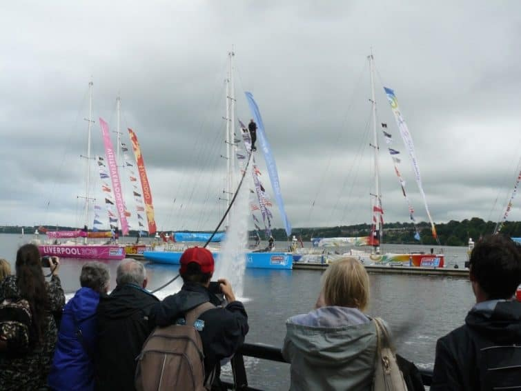 Demonstrating a water jet pack at the Foyle Maritime Festival in Derry, Northern Ireland