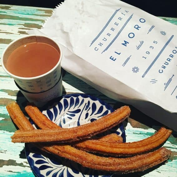 Churros and chocolate in Mexico City.