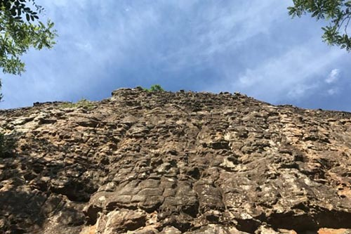 A view from bottom of the Cliffs of Insanity route at HCR.