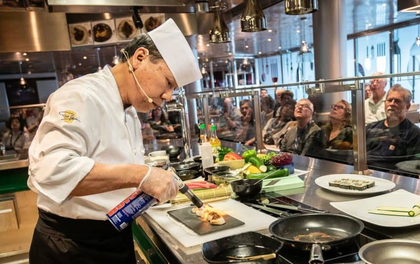 Guest chef on my cruise was Andy Matsuda, a renown sushi chef, who demonstrated the art of preparing Japanese dishes to a packed house in the Culinary Arts Center.