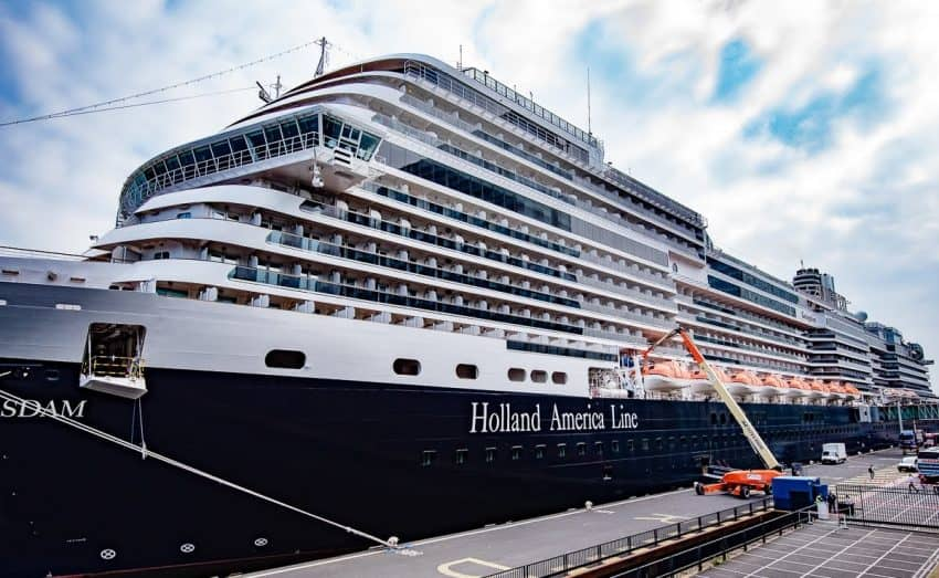 It's all hands on deck with maintenance, cleaning and restocking the Koningsdam when it arrives in port. The average turnaround time is about 10 hours before before it sails again with 2600 guests.