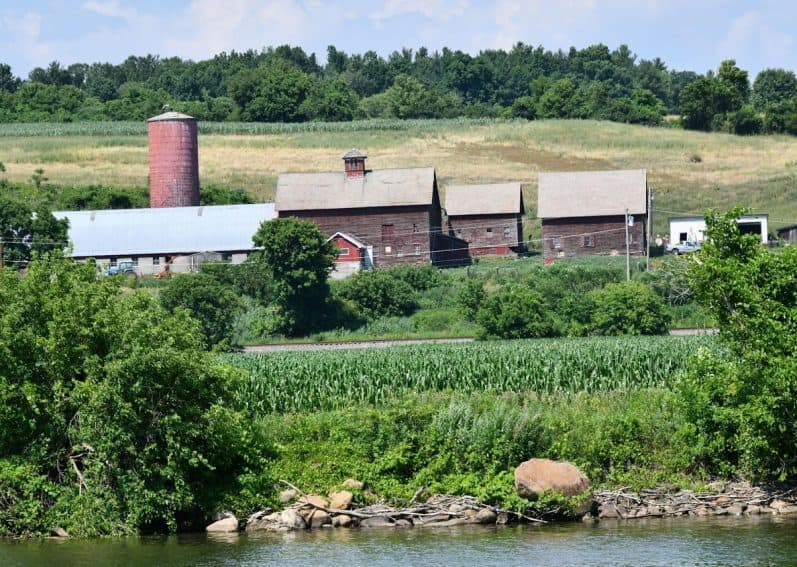 Farms abound along the Erie Canal in New York State.