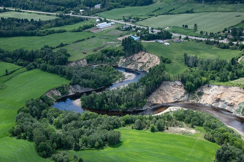 The Gouffre River snakes its way through the farmland of Charlevoix. This bird's eye view is possible with Heli-Charlevoix adventures.