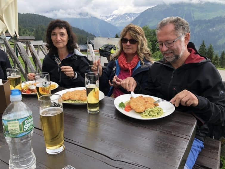 Enjoying a hearty repast during our mountain bike excursion in Montafon.
