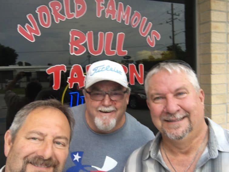 U.S. Navy shipmates, from left, David, Scott, Thom, reunite after 32 years in Jacksonville, Florida.