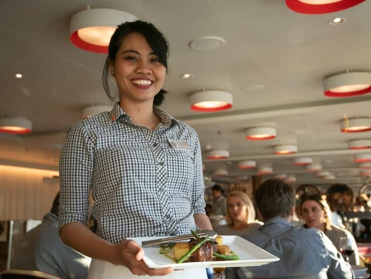 he always smiling crew of the Koningsdam represents 39 nationalities, with most being from the Philippines and Malaysia.