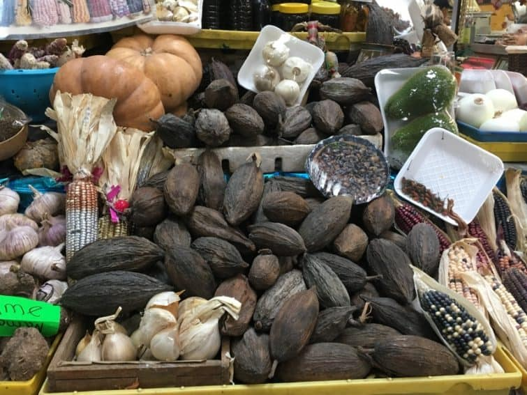 Cocao pods in the market.
