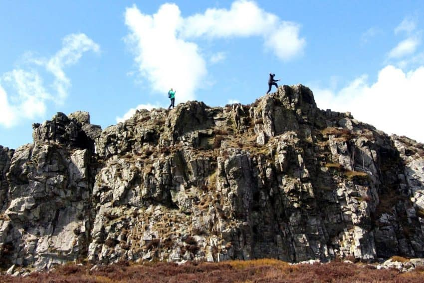 Hiking the Devil's Chair in the Shropshire Hills, Shropshire England.