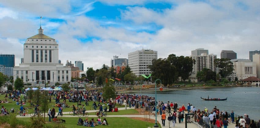 Lake Merritt, near the center of downtown Oakland California, where boat races and other activities take place. Barberstock photos.