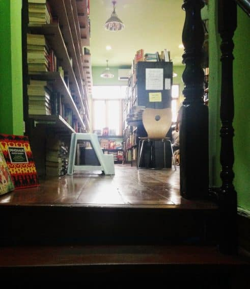 Inside the Dasa Bookshop Cafe, the best secondhand bookstore in Bangkok. Alex Lane photos.