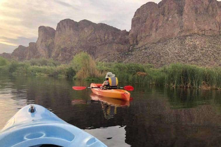 Kayaking the Lower Salt River with high school friend Kristy. Sonja Stark photos.