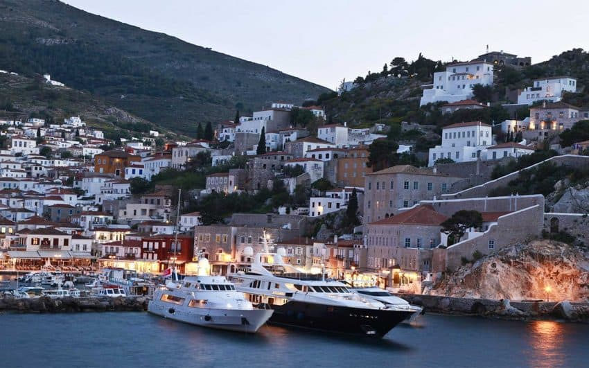 Hydra Harbor with Yachts