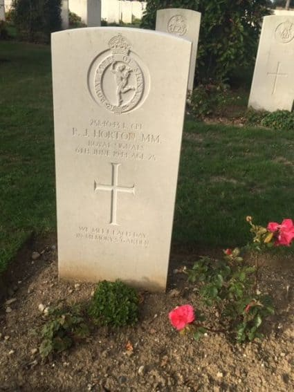 A soldier's grave in Normandy commemorating the battles of Normandy.