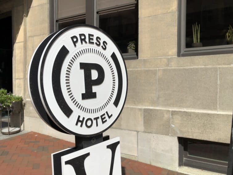 The former newspaper offices of the Portland Press Herald are now a swank boutique hotel, the Press Hotel, in Portland's Old Port.