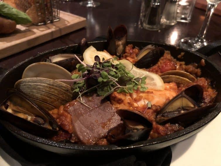 Paella at Blue Fin North Atlantic Seafood, inside the Portland Harbor Hotel.