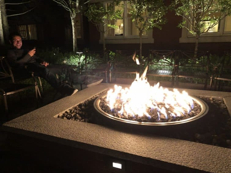 A good place to light up a legal smoke of marijuana in downtown Portland at the Harbor House's firepit.