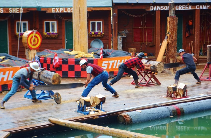 Lumberjack show in Dawson Creek, Alaska. Noreen Kompanik photos.