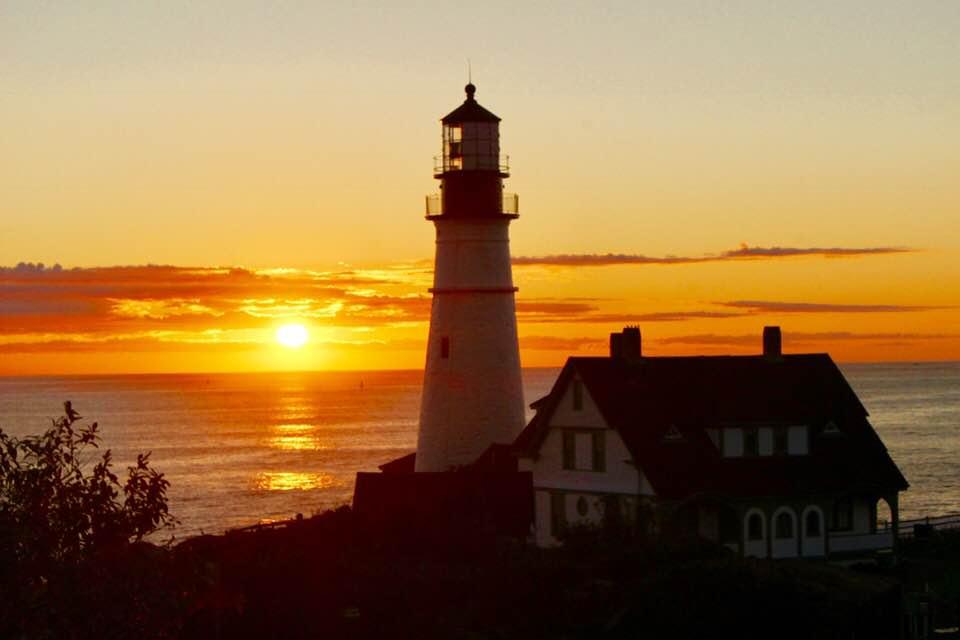 Portland Head Light at sunrise in Cape Elizabeth Maine. Rachael McGrath photos.