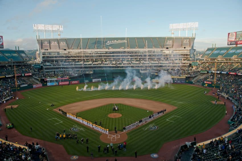 Opening day at the Oakland-Alameda County Coliseum on March 31, 2014 in Oakland, California. (Photo by Jeffery Bennett/Oakland Athletics)
