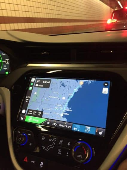 The Bolt's large touchscreen shows range and a whole lot of information about the car and batteries.
