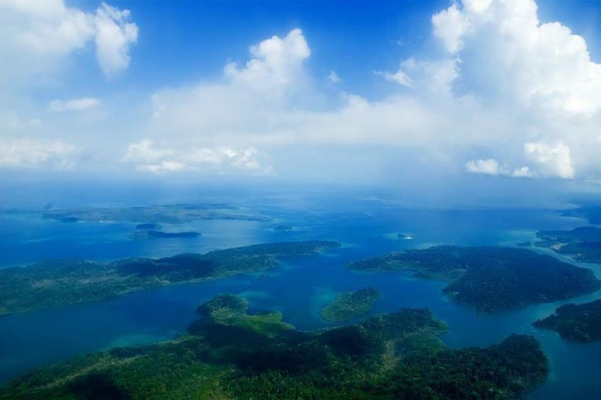 Birdseye view of the Andaman Islands in the Indian Ocean.