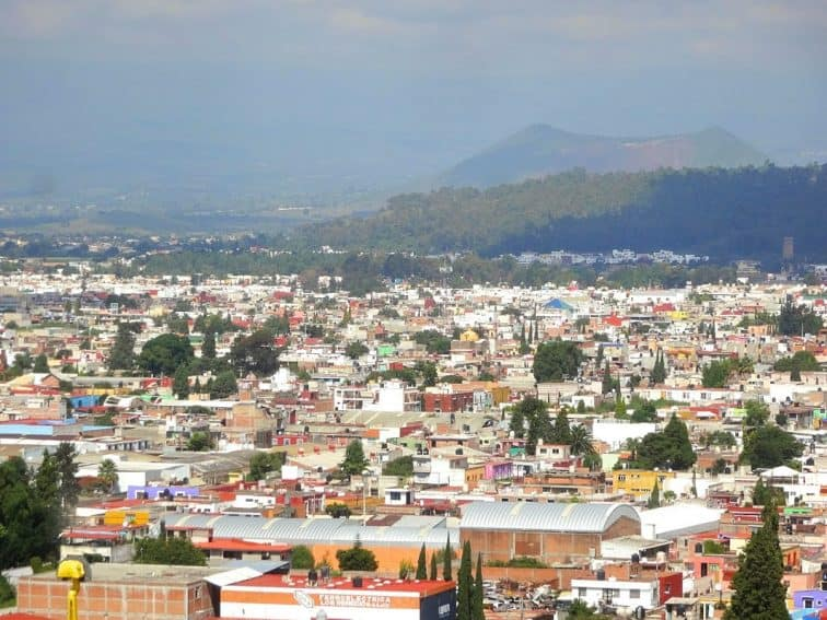 Cholula View of the town from the top of the pyramid in Mexico.