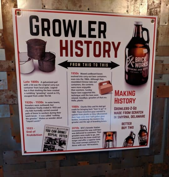 Growler history at Brick Works. Dover Delaware