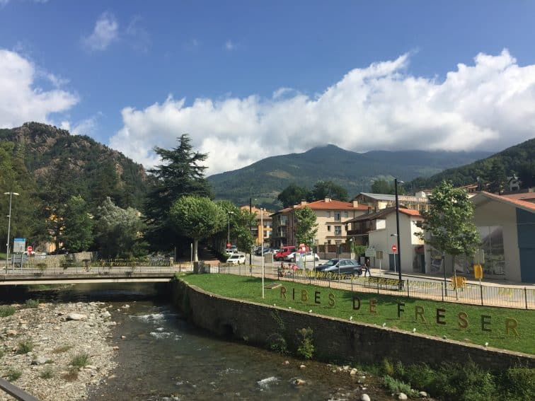 The riverside in Ribes de Freser, Spain where the sheepdog trials are held.