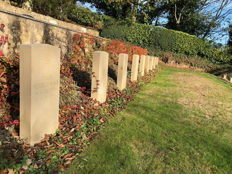 Graves of 114 German soldiers at Fort Georges, Guernsey.