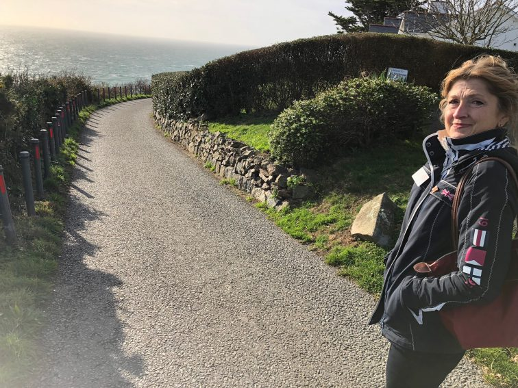 Gaby Betley walks along the roadway at Fort Georges.