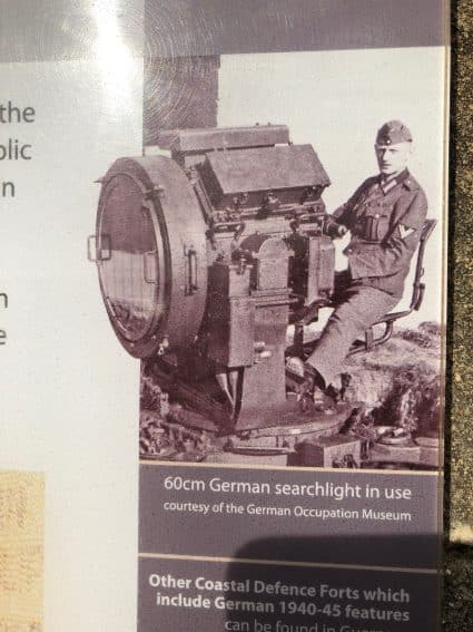 German searchlight in use on Guernsey.