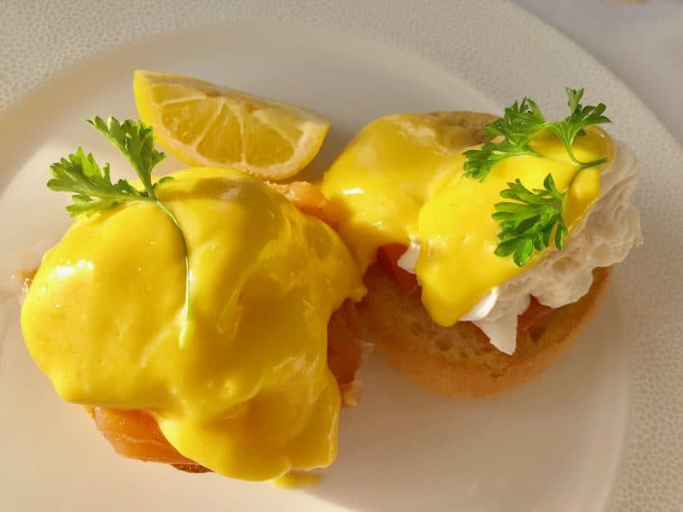 Eggs Benedict at Le Fregate Hotel, Guernsey.