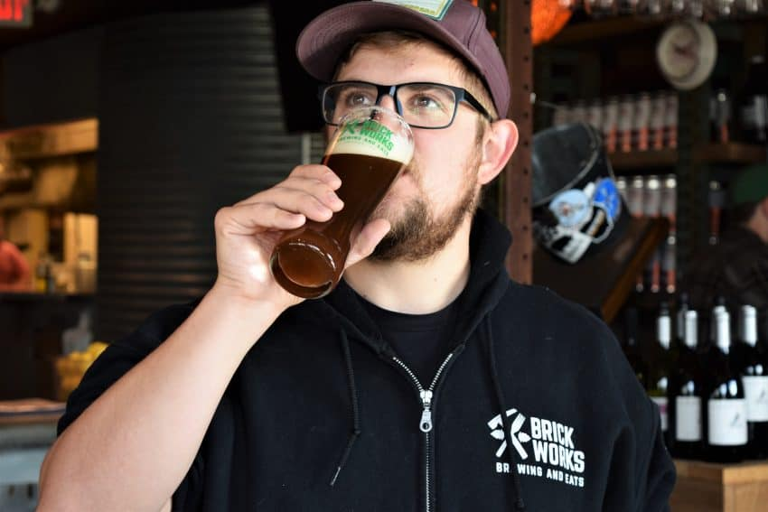 Quality control by Justin at Brick Works Brewery.