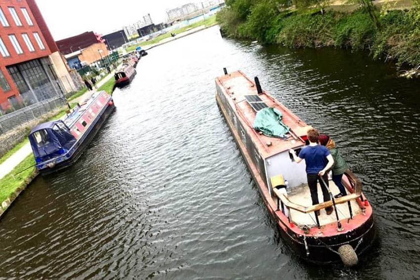 Narrowboats on the River Lea