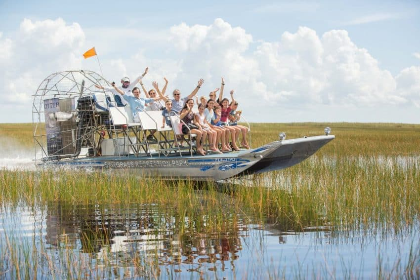Airboat ride at Sawgrass Recreation Park, outside of Miami, Florida.