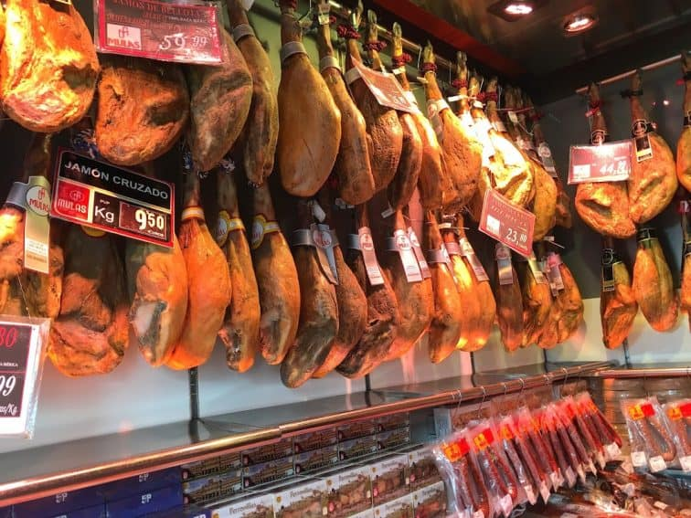 Spanish shops sell Iberico ham as well as other types.