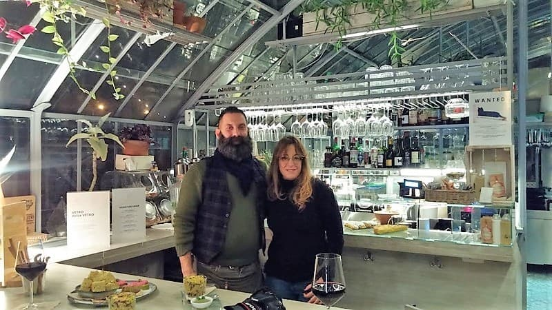 Delicious creative eats in a lovely repurposed greenhouse Vetro Restaurant with Carlos and Letizia Melchiorre.