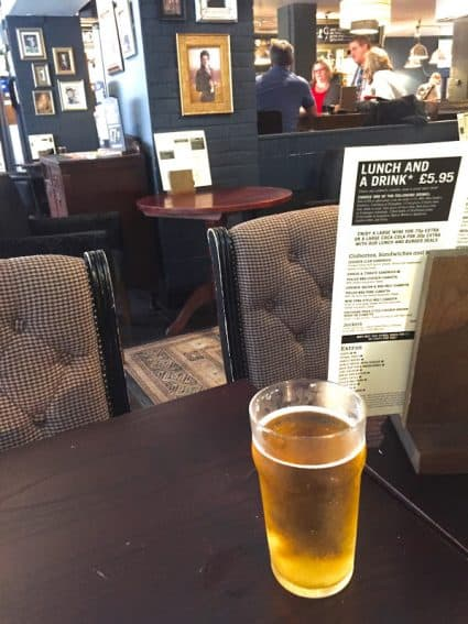 A pint for lunch. Why not?