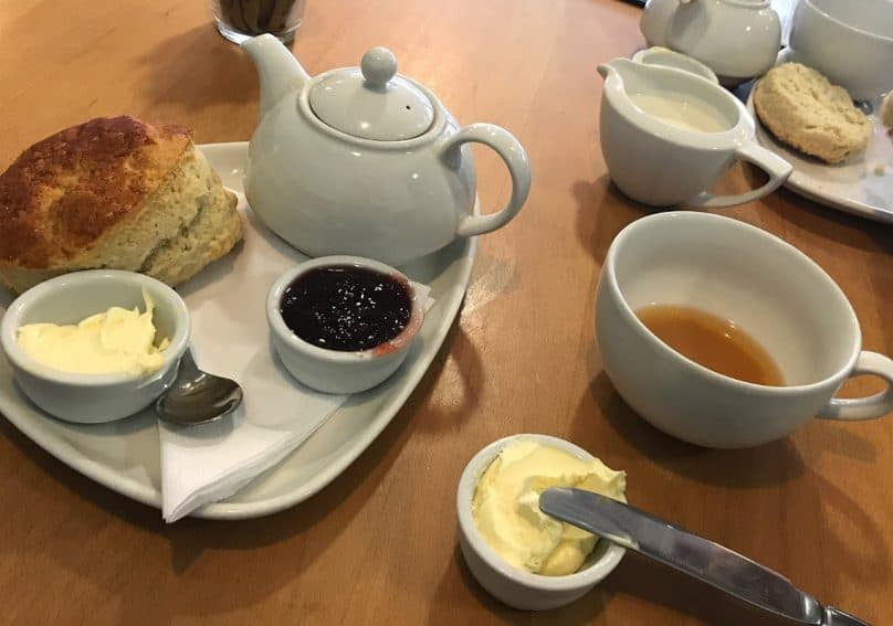 A generous cream tea, with jam and lots of clotted cream.