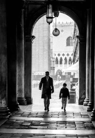 David c. Phillips, 2012, Father and Son, St. Marks Square, Venice.