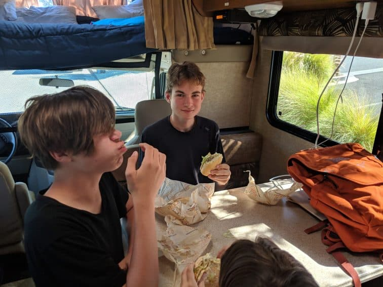 Iden and Aren Elliott enjoy lunch in Santa Rosa. It's nice to have your home on wheels, but it can get a little cramped.