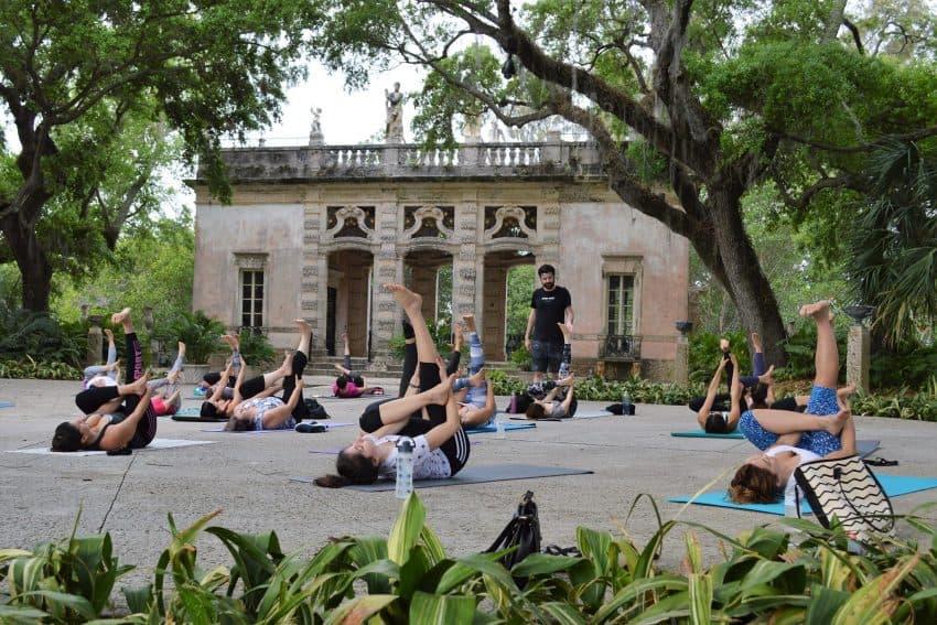 Yoga at the Vizcaya in Miami.