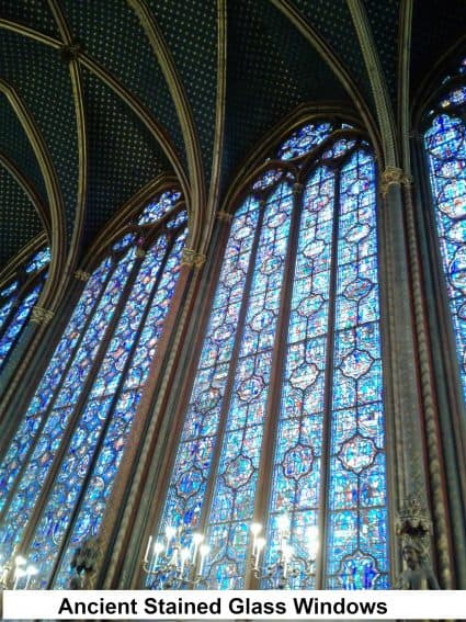 Ancient stained glass windows adorn the Sainte-Chapelle.
