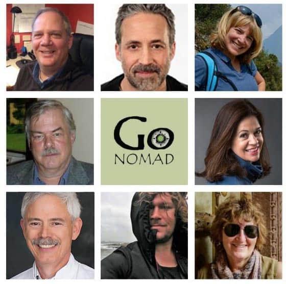 2018 Travelers. Top left: GoNOMAD Editor Max Hartshorne, clockwise from top, Paul Shoul, Sonja Stark, Stephen Hartshorne, Cathie Arquilla, Kurt Jacobson, Christopher Ludgate, Donnie Sexton.