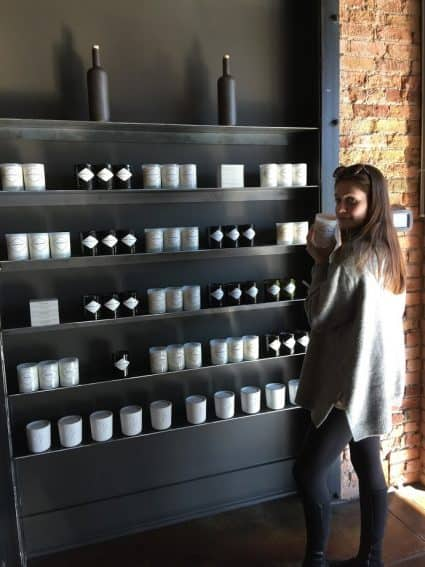 Isabella Bricker candle shopping in Salt Lake.