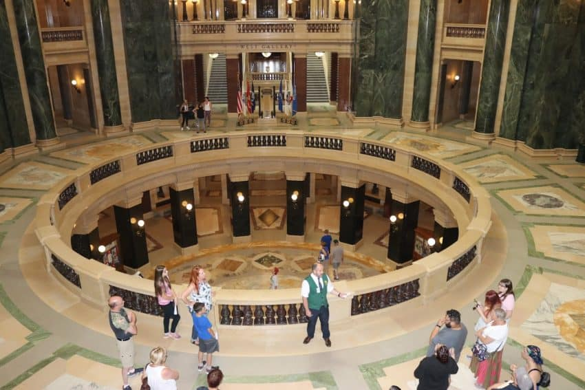 A tour of the capital rotunda in Madison, Wisconsin.