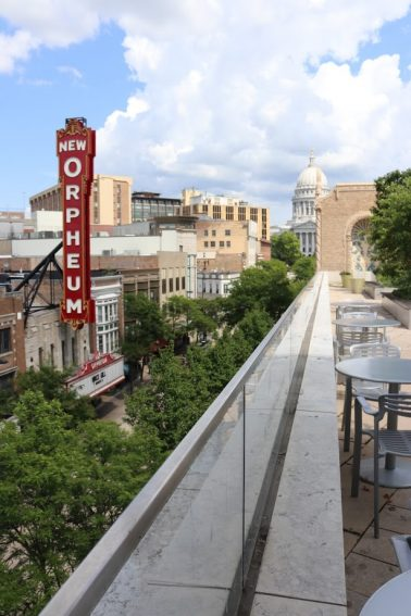 View of the New Orpheum theater from the top of the museum.