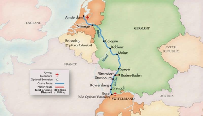 This map shows the route of the Rhine River, for a Christmas Market cruise.