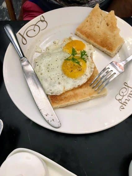 Toast on Eggs at the famous Flurys on Park Street, Kolkata